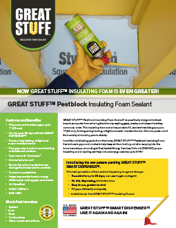Pestblock Insulating Foam Sealant - Pest Blocking Foam